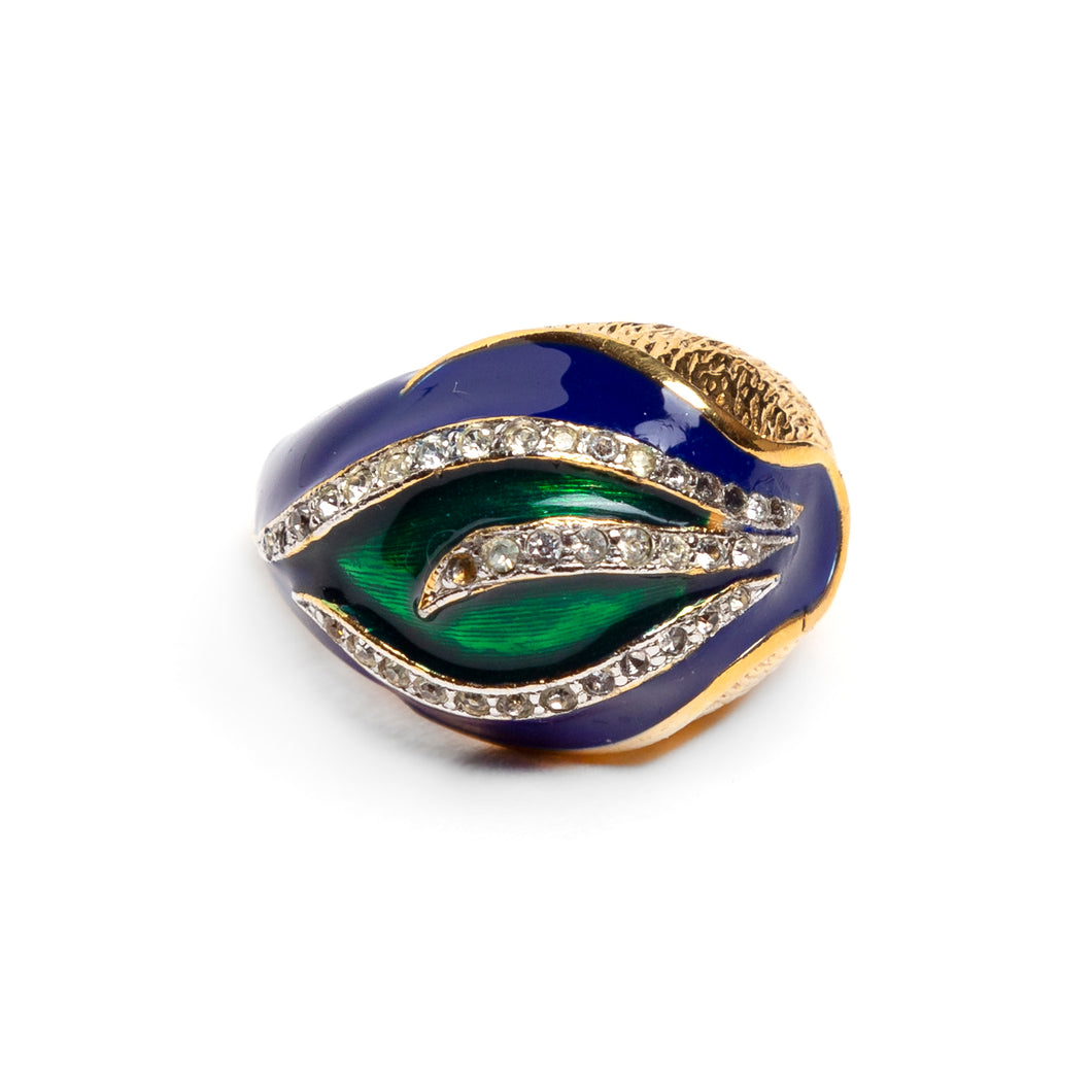 1970s Panetta Green and Blue Design Ring