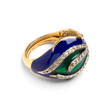 Load image into Gallery viewer, 1970s Panetta Green and Blue Design Ring