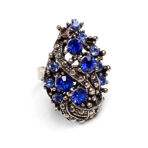 1960s Hollycraft Ring with Blue Rhinestones