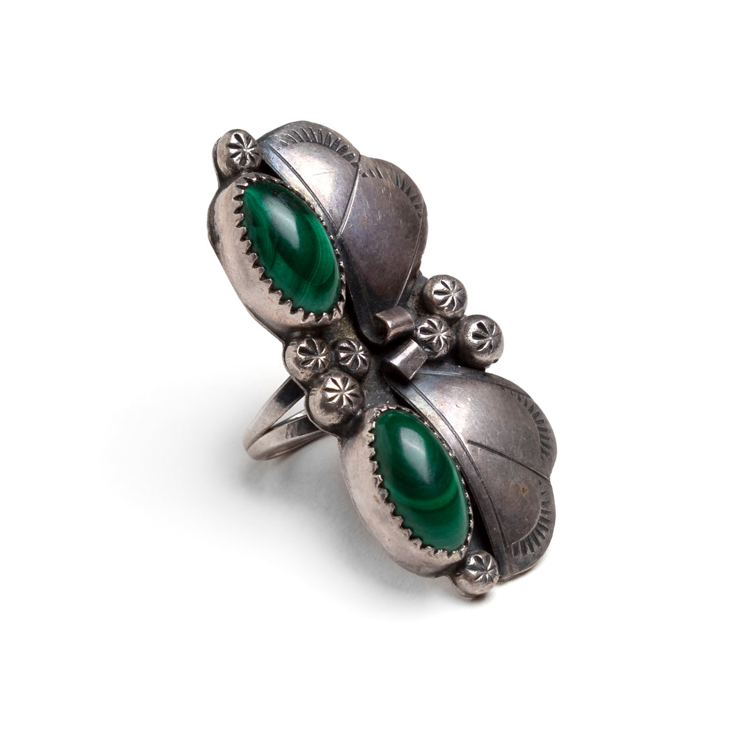 1970s Mexican Silver and Malachite Ring