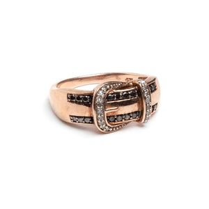 Buckle with Black and Clear Stones Ring