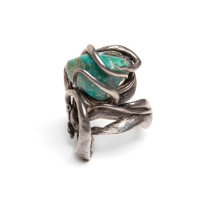 1980s Sterling and Turquoise Artisanal Ring