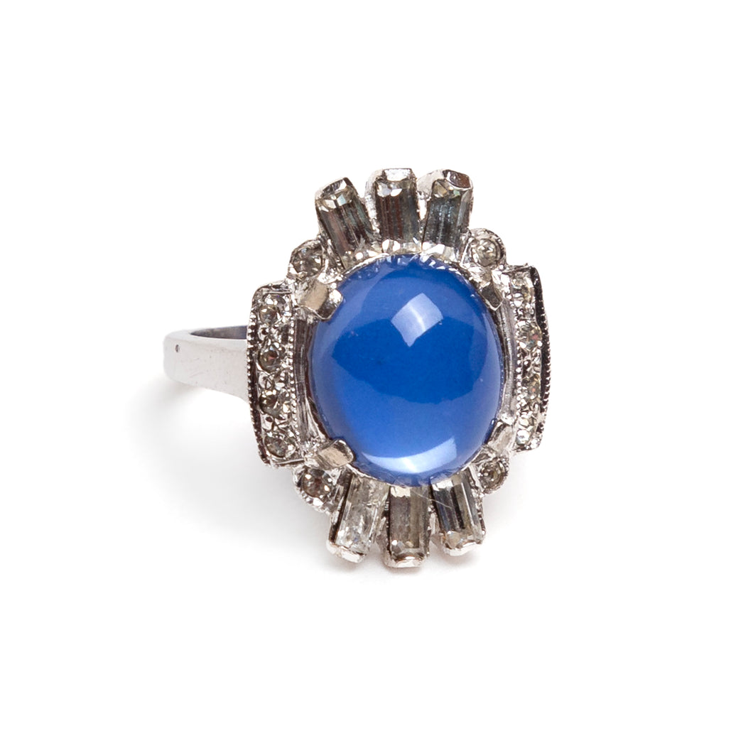 1950s Sterling Ring with Blue Cabochon