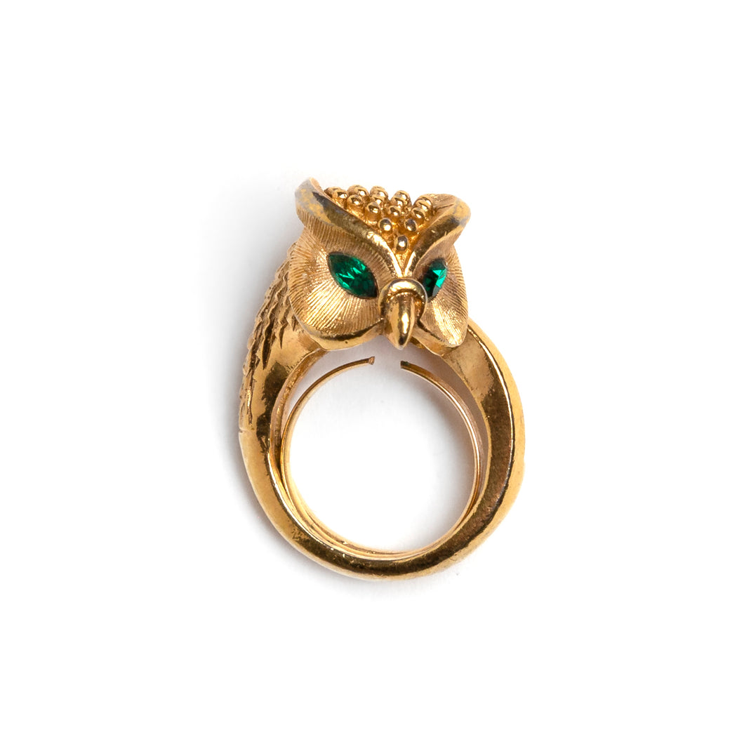 1950s Trifari Gold Owl Ring