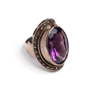 1980s Sterling Ring with Large Purple Stone