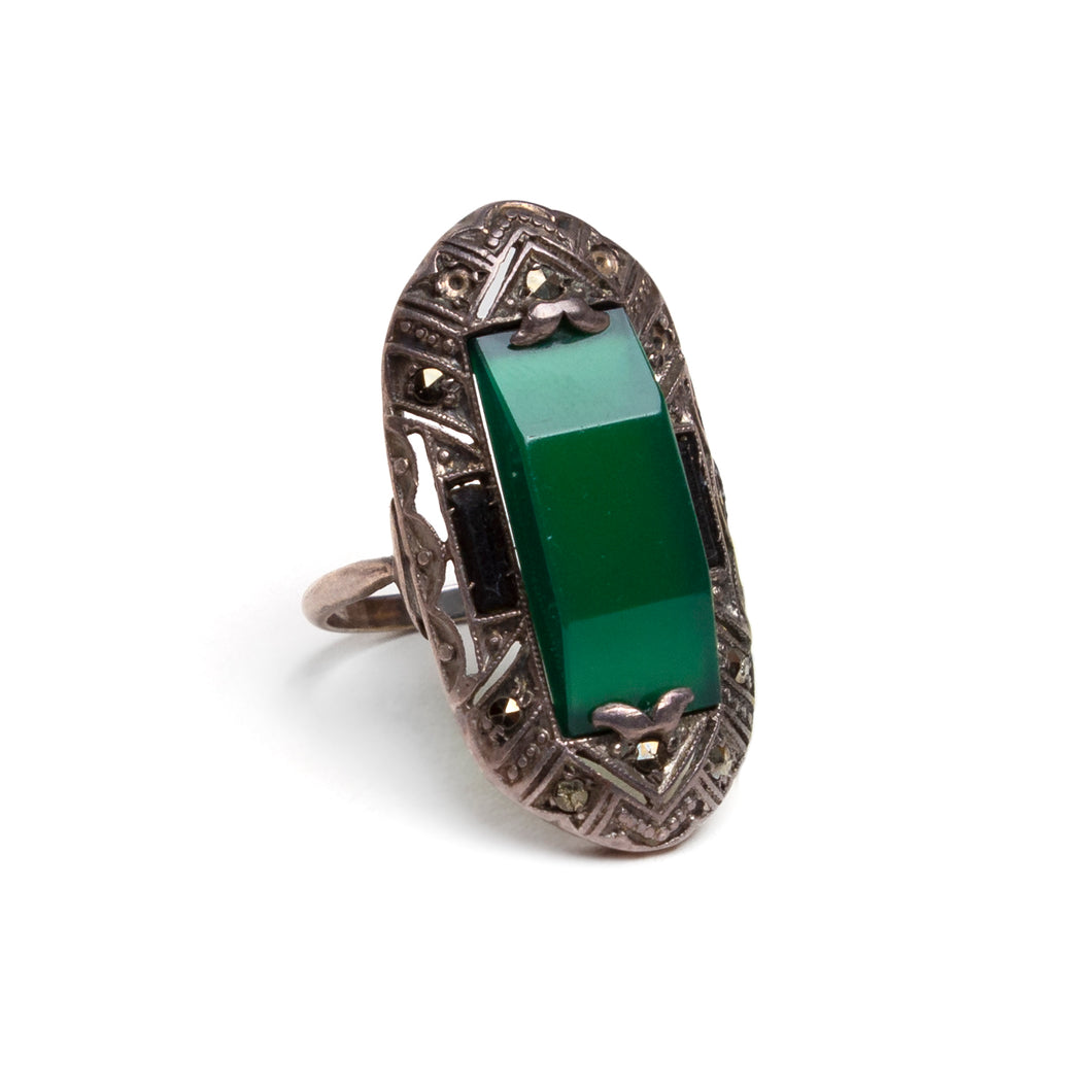 Victorian Ring with Green Stone