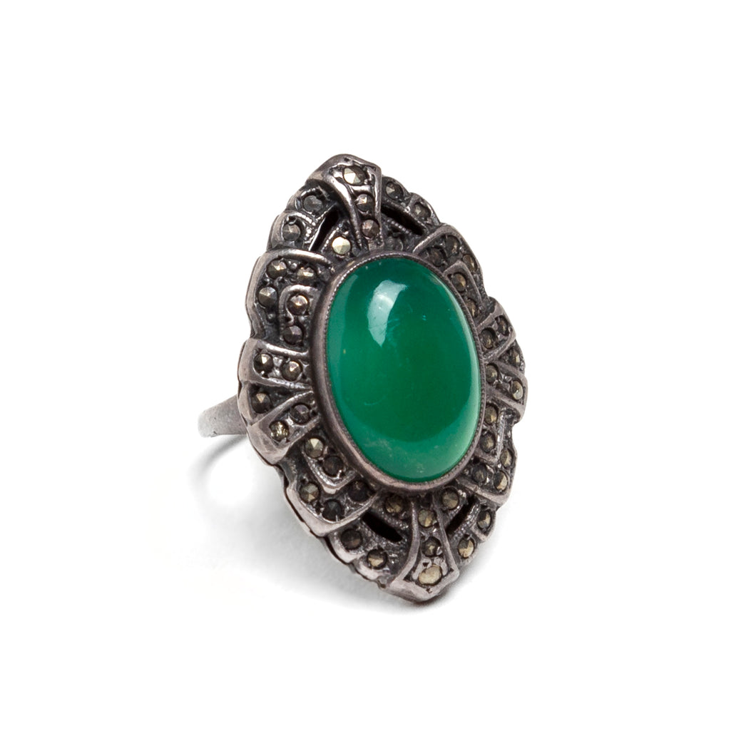 1930s Green Cabochon and Marcasite Ring