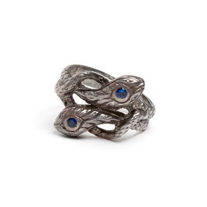 1940s Sterling Entwined Serpents Ring