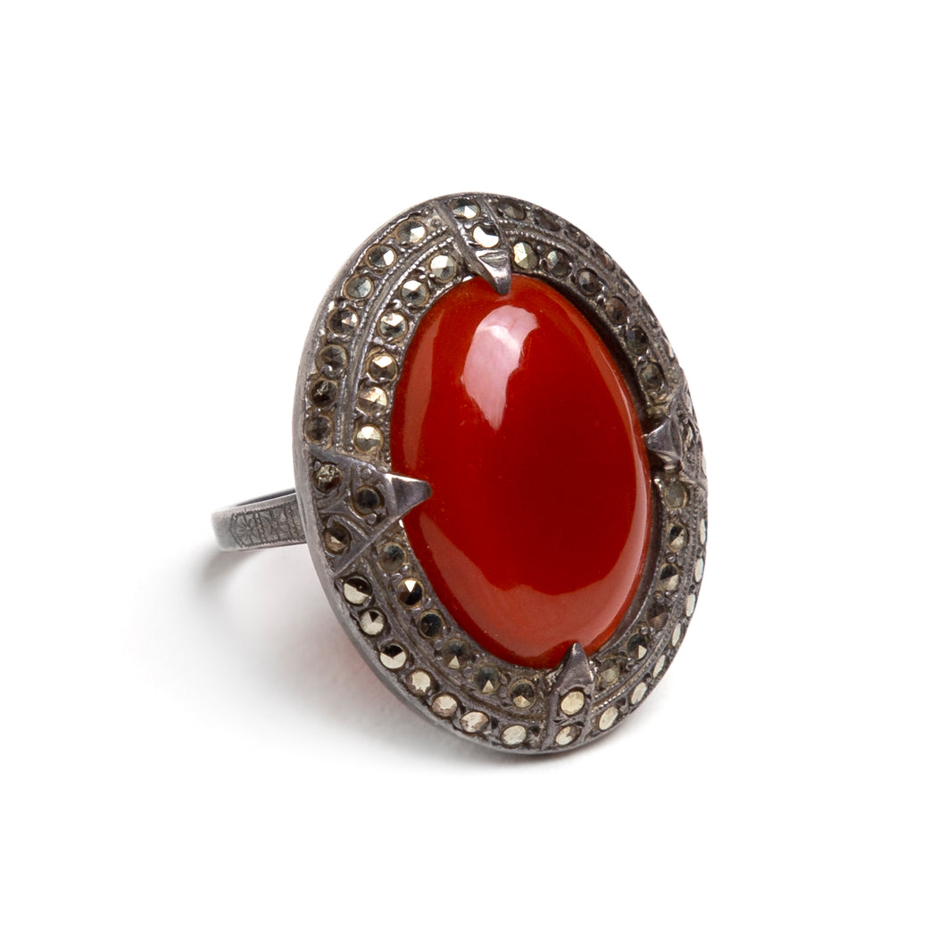 1930s Carnelian and Marcasite Oval Ring