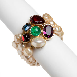 1950s Ciner Pearl Three-Strand Bracelet