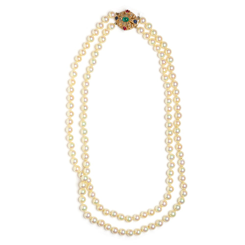 1950s Ciner Double-Strand Pearl Necklace