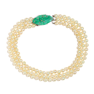 Ciner Three-Strand Pearl Choker