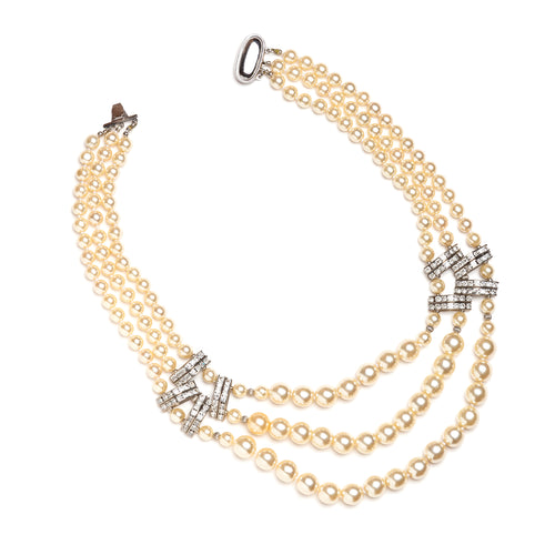 1950s Three-Strand Pearl and Diamanté Necklace