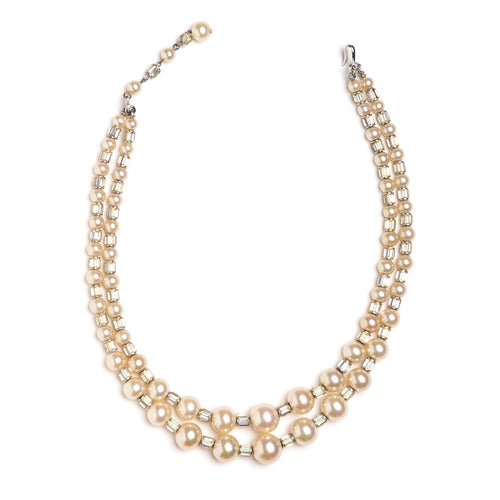 1950s Hosenstein Double-Strand Pearl and Crystal Necklace