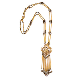 1950s Monet Gold Bars and Pendant Necklace