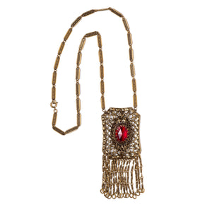 Gold Links and Red Stone Necklace