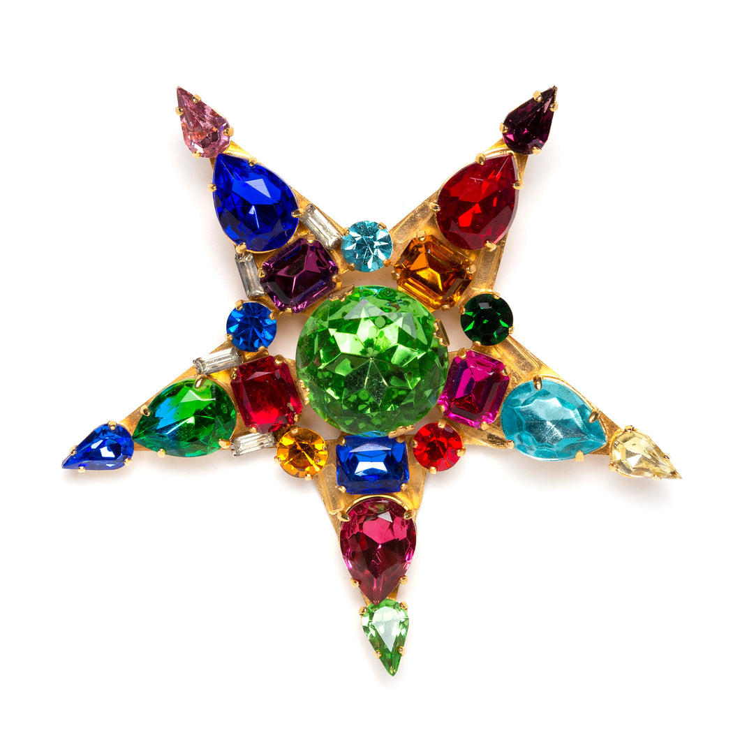 Colourful Jewel Encrusted Star Brooch
