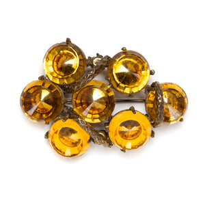 1940s Concave Yellow Stones Brooch