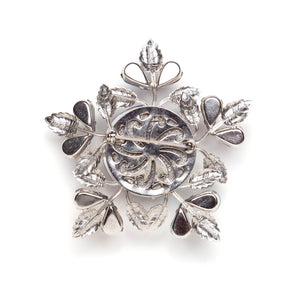 Silver and Marble Star Brooch