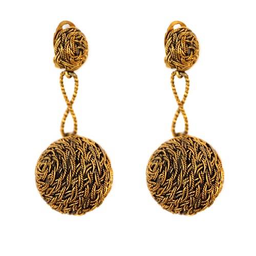 Gold Braided Ball Earrings