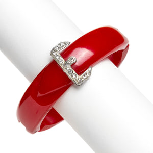 "Red Plastic ""E"" Bangle"