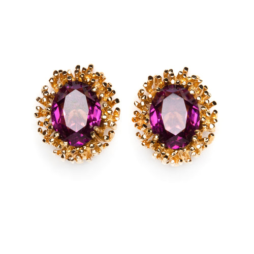 Panetta Purple and Gold with Diamanté Earrings