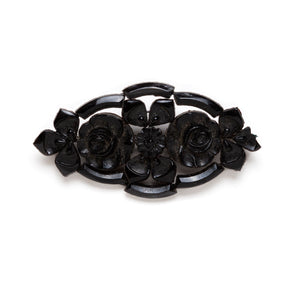1930s Czech Carved Black Floral Pin