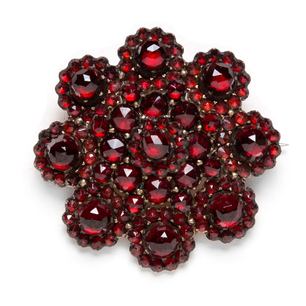 1950s Garnet Flower Brooch
