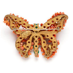 1950s DeMario Stone Encrusted Butterfly Brooch