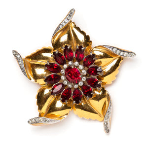 1940s Gold and Garnet Flower Brooch