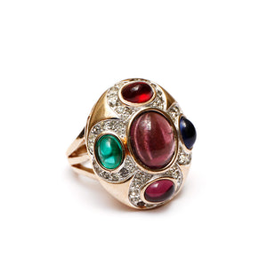 Multi-Colored Cabochon Ring