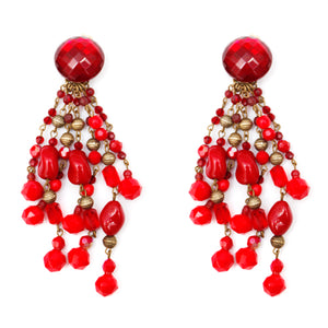 Multi-Strand Red Glass Bead Dangly Earrings