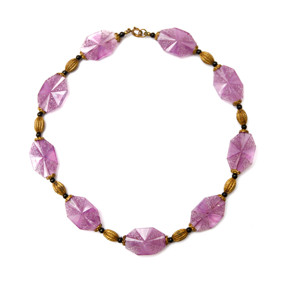 1920s French Deco Purple Beaded Necklace