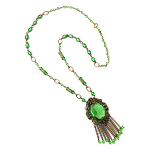 Green and Silver Czech Necklace