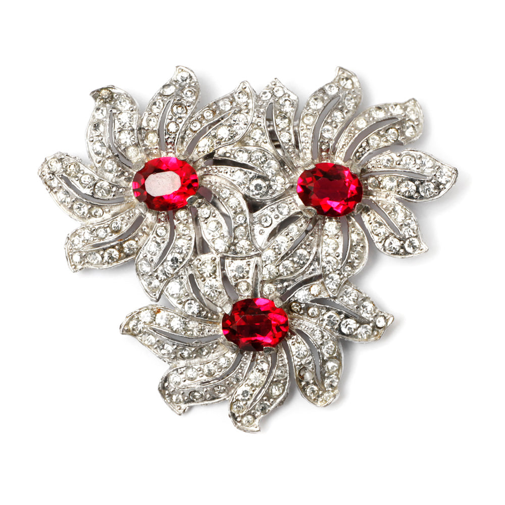 1940 Ruby Flower Cluster Pin
