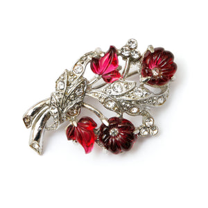 1940 Diamante and Red Flower Pin