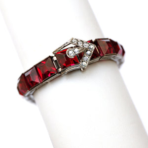 1920s Sterling Red Square Stone Bracelet