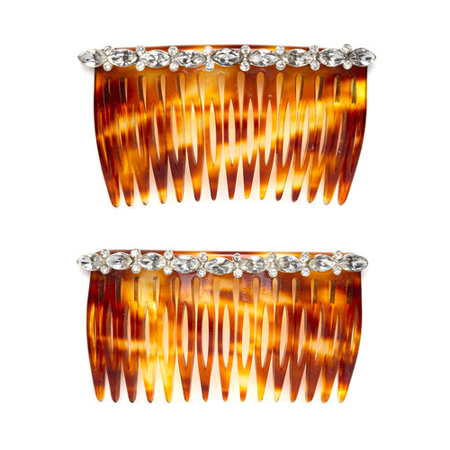 1960s Clear Rhinestones Hair Comb Set