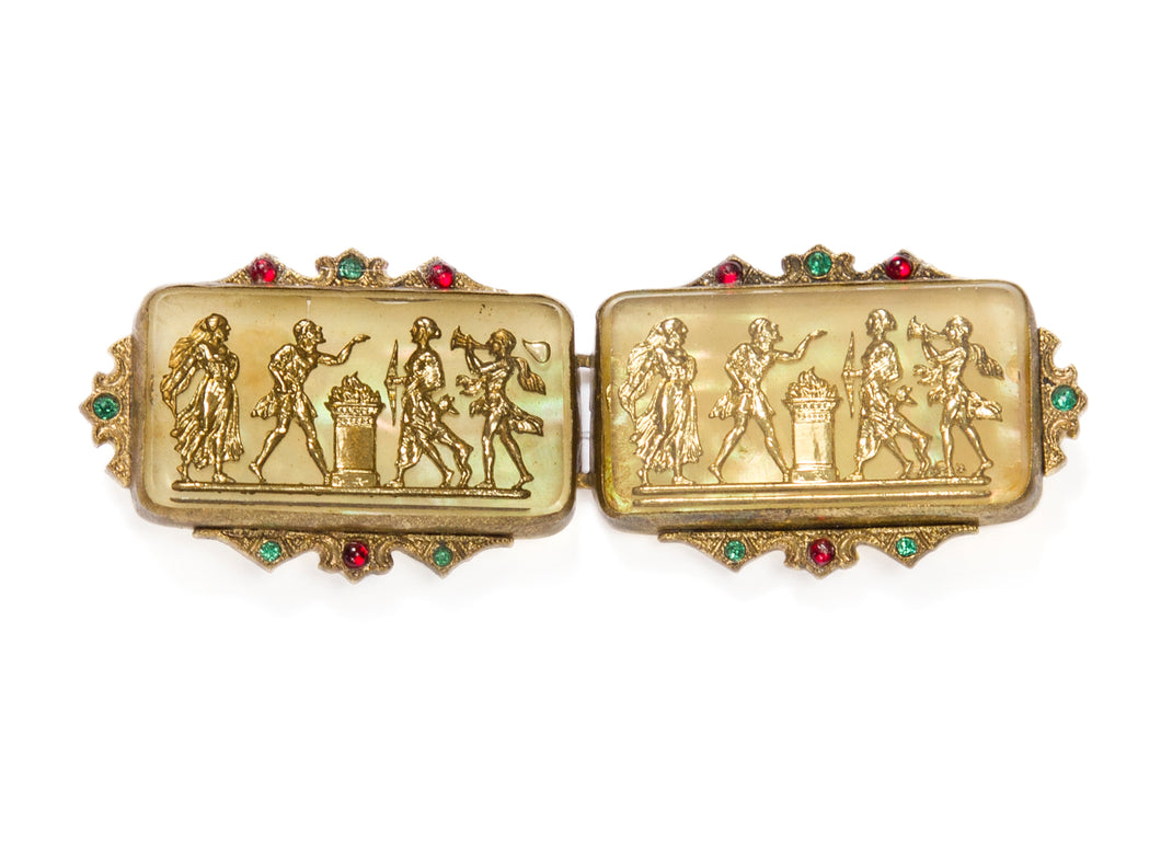 1930s Czech Carved Relief Belt Buckle