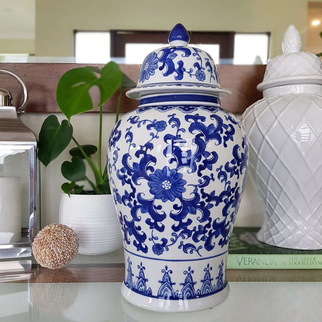 Large Blue and White Temple Jar