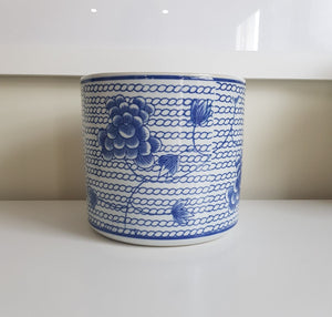 Blue and White Blossom Chain Planter