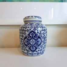 Load image into Gallery viewer, Blue and White Citrouille Ceramic Temple Jar