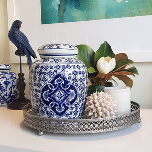 Blue and White Citrouille Ceramic Temple Jar