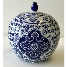 Load image into Gallery viewer, Blue and White Citrouille Ceramic Ginger Jar