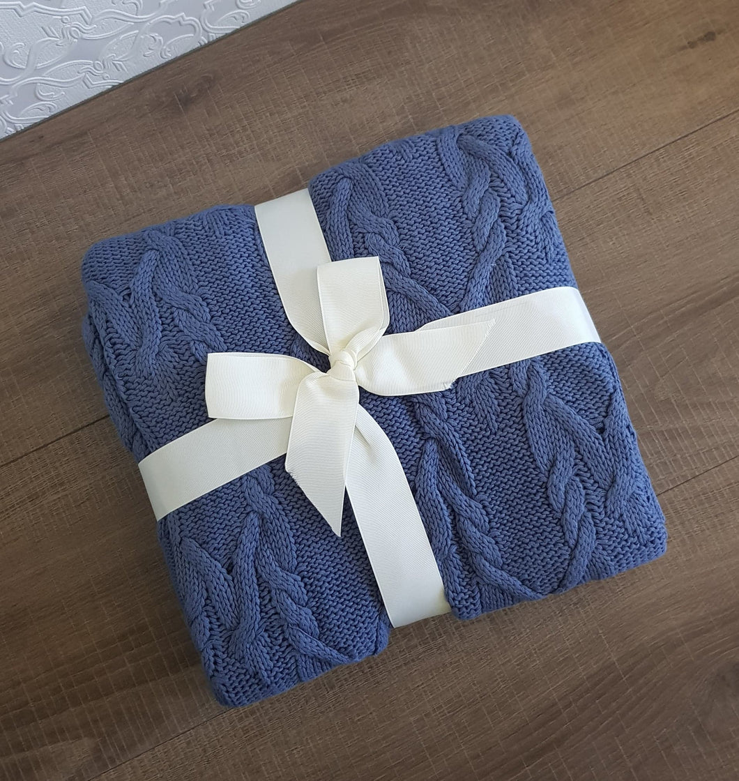 Steel Blue Cotton Throw