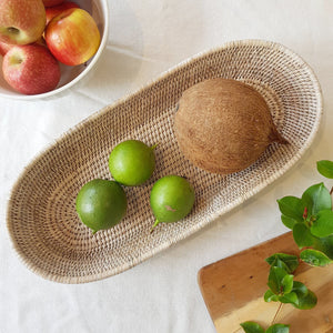 Oval Bread Basket in White Wash