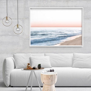 Blush Pastels, Beach Seascape Horizon - Art Print