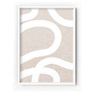 Boho Abstracts  White Lines III - Art Print