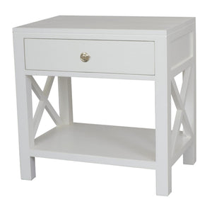 Catalina Crossed White Bedside / Side Table