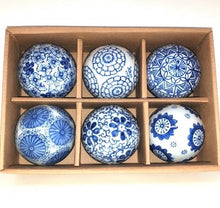 Load image into Gallery viewer, Set of 6 Blue and White Ceramic Balls